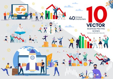 Businesspeople Life Scenes, Startup Team, Business Leader, Financial Analyst, Company Employees Work Situations, Crisis and Bankruptcy, Time Management Concepts Trendy Flat Vector Illustrations Set 向量圖像