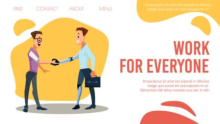 Disabled Person Employment, Hr Agency, Job Searching Online Service Trendy Flat Vector Web Banner, Landing Page Template. Businessman, Company Leader Handshaking with Disabled Employee Illustration 向量圖像