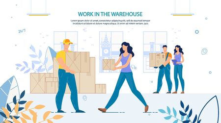 People Loaders at Work in Warehouse Advertisement. Man and Woman Staff in Uniform. Storage Package Boxes. Loading and Unloading Goods. Preparation for Shipment. Logistic Delivery Cargo Service