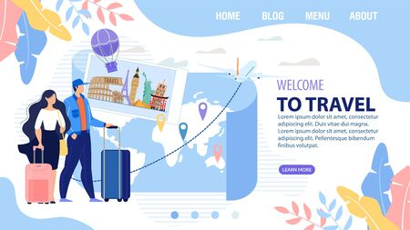 Landing Page Trendy Design Inviting to Travel Vacation. Man Woman Carrying Luggage Bag Stand front of Paper Map with Destination Marks. Online for Booking Tour and Aircraft Ticket. Vector Illustration 向量圖像