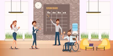 Disabled Man Successful Business Career Trendy Flat Vector Concept with Happy Colleagues Congratulating Male Employee in Wheelchair with High Results in Work, Great Achievement in Career Illustration