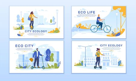 Ecological City. Smart Dwellers Riding Eco-Friendly Transport. Men Women on Unicycle, Self-Balanced Hoverboard, Electric Scooter, Bicycle. Modern and Futuristic Transportation Way. Webpage Banner Set