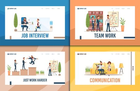 Recruiting Agency, Investments Startup, Business Courses, Disabled People Communication Trendy Flat Vector Web Banners, Landing Pages Set. Working Businesspeople, Employee in Wheelchair Illustration