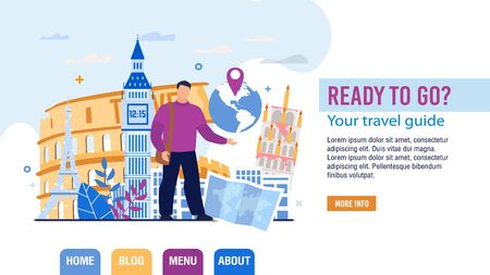 Tour and Personal Guide Selection Landing Page Trendy Design. Travel Agent Telling about Famous World Sightseeing and Landmarks Trip Application. Tourism. Booking Service Abstract Vector Illustration