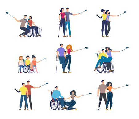 Disabled People Trendy Flat Vector Characters Set Isolated on White Background. Paralyzed or Paraplegic Woman and Man in Wheelchair, Injured Persons on Crutches and Children on Prosthesis Illustration Ilustração