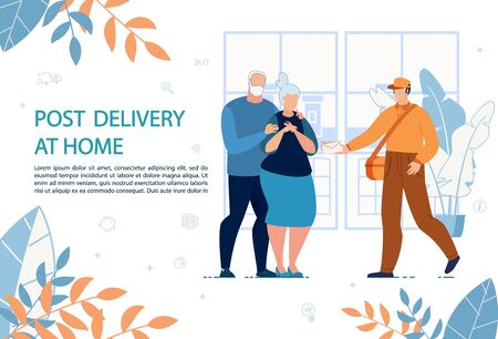 Post Delivery at Home Advertising Banner. Postman Giving Letter Mail in Paper Envelop to Elderly Married Couple Addressee. Correspondence Transportation Male Courier. Flat Apartment Interior 向量圖像