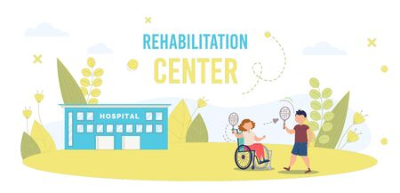 Disabled Children Recovery in Rehabilitation Center Trendy Flat Vector Banner, Poster Template. Disabled Child, Injured Girl in Wheelchair Playing Badminton with Friend in Hospital Yard Illustration