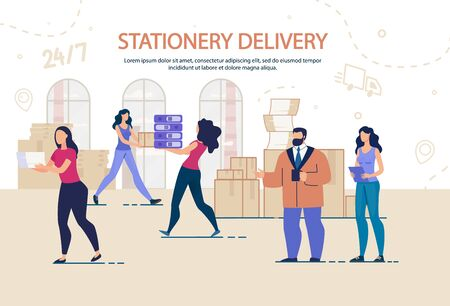 Stationary Appliance Delivery and Moving Office Service. Round-the-Clock Relocation Work Management. Man and Woman Workers Staff Characters Carrying Cardboard Boxes, Documents Folders Stack 向量圖像