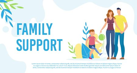 Disabled Child Family Support Trendy Flat Vector Banner, Poster Template. Kid with Disabilities, Boy with Injury and Leg Prosthesis Having Fun, Walking with Parents Outdoor, Playing Ball Illustration Foto de archivo - 140172319