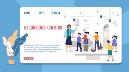 Landing Page Offer Kids Excursions to History Museum. Schoolkids Listen Guide, Watching Medieval Knight Steel Armor and Helmets Exposition. Educational Tour for Children. Vector Illustration Ilustração