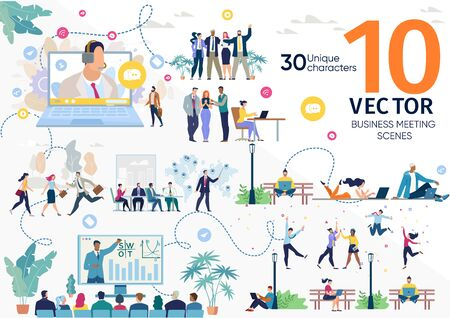 Business Company Team, Freelancers Life Scenes, Office Workers Work Situations, Client Support, Investors Meeting, Project Presentation, Business Seminar Concepts Trendy Flat Vector Illustrations Set Ilustração