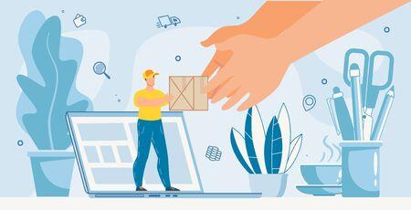 Office Parcels Delivery Online Internet Service Metaphor Advertisement. Tiny Deliveryman Giving Cardboard Box Standing on Laptop. Huge Human Hand Taking Package. Shopping, Buying, Receive Order Ilustração