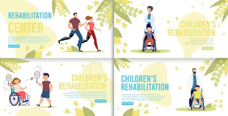 Children Rehabilitation in Medical Center or Hospital Flat Vector Horizontal Web Banners, Landing Pages Set. Disabled Adults and Children Leading Healthy Lifestyle, Doctor with Patients Illustration Ilustração