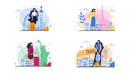 Travel Set. Woman Character Vector Scene. Business Trip, Summer Vacation, Journey on Holidays, World Landmarks Exploration. Female Student, Businesswoman, Young Lady with Luggage Illustration 向量圖像