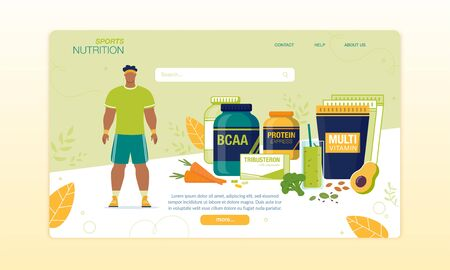 Sports Food for Active Man Delivery Landing Page. Nutritional Supplements, BCAA, Multi Vitamin Complex. Sport Nutrition for Male Athlete Energy Revival and Physical Power Growth. Vector Illustration