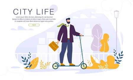 Businessman Millennial Office Manager Riding Electric Eco-Friendly Kick Scooter to Work through Street. Ecology City Life Webpage Banner. Modern Ecology Transport. Active Healthy Lifestyle