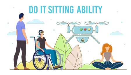 Digital Technologies, Modern Gadgets and Devices for Disabled People Trendy Flat Vector Concept. Disabled Woman, Injured Lady in Wheelchair Using VR Headset to Controlling Flying Drone Illustration Ilustração