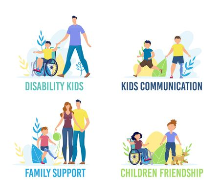Disabled Children Communication, Friendship and Support Trendy Flat Vector Banner, Poster Template. Child with Special Needs, Handicapped Boy on Wheelchair, Injured Kid with Prosthesis Illustration