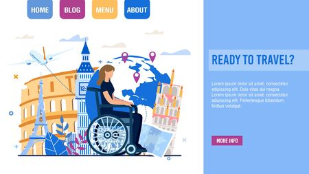 Travel Agency Offering Trip for Disabled People. Landing Page Trendy Design with Handicapped Woman Sitting in Wheelchair over Earth Globe and Famous World Attraction Vector Illustration Ilustração