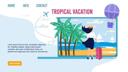 Landing Page for Choosing Best Tropical Vacation. Woman Standing with Luggage Bag and Looking forward Seaside. Sailboats, Palms, Flying Air Hot Balloon Design. Tour Agency. Vector Illustration Ilustração