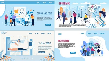 Medical Tests and Treatment Methods Landing Page Set. Cold, Flu and Infection with Cough Symptom. Protection from Epidemic. X-Ray Test and Pick Glasses Procedure. Vector Cartoon Illustration Ilustração