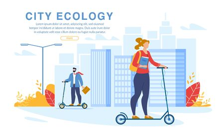 City Ecology Webpage Banner. Businesspeople and Students Using Eco-Friendly Transport in Daily Life. Electric Scooter for Air and Health Safe Transportation. Man and Teenager Girl on Pushscooter