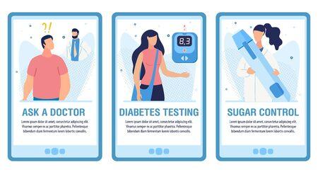 Online Medical Consultation Service Mobile Landing Page Trendy Flat Set. Ask Doctor, Diabetes Testing, Sugar Control Design for Social Media Webpages. Vector Cartoon Patient and Nurse Illustration Ilustração