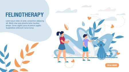 Pet Feline Therapy Medical Service. Felinotherapy Healthcare Methods. Trendy Flat Landing Page. Online Consultation and Treatment. Cute Cartoon children and Fluffy Kitten. Vector Illustration