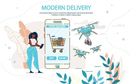 Modern Drone Food Delivery. Woman Customer Ordering Buying Fresh Healthy Meal Basket via Mobile Application on Smartphone. Quadrocopters Service for Fast Aircraft Groceries Transportation Ilustração