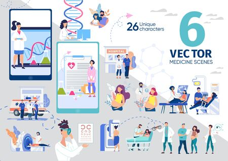 Healthy Pregnancy, Diseases Diagnostic Technologies, Medical Laboratory, Pharmacy Mobile Applications Trendy Flat Vector Scenes, Concepts Set. Pregnant Woman, Clinic Personnel Characters Illustrations