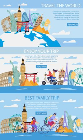 Travel Agency World Trips, Family Journey, Romantic Travel in Foreign Country Trendy Flat Vector Horizontal Web Banners, Landing Pages Templates Set. People Visiting Famous Attractions Illustration