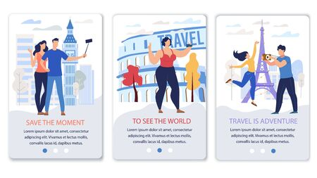 Travel Agency, Online Startup for Travelers Mobile App Trendy Flat Vector Vertical Web Banners, Landing Pages Templates Set. Male, Female Tourists, Couple Making Selfie near Attractions Illustration