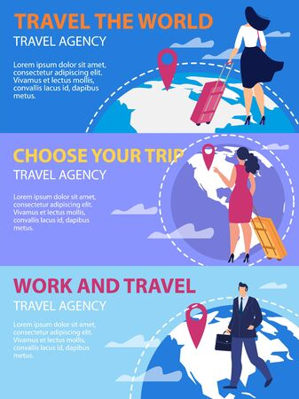 Travel The World, Choose Trip Destination, Work and Travel Trendy Flat Vector Advertising Banners, Promo Posters Templates Set. Traveling with Luggage Women, Businessmen Going on Journey Illustration Ilustração