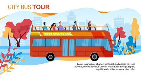 Touristic City Bus Tour, Hop-on-Hop-Off Service Trendy Flat Vector Advertising Banner, Promo Poster Template. Multinational Tourists Exploring Foreign City Attractions from Open Top Bus Illustration