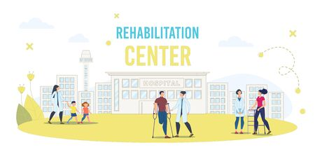 Disabled People Rehabilitation in Medical Center Trendy Flat Vector Banner, Poster Template. Hospital Patients, Clinic Clients with Disabilities, Injured Person Resting on Hospital Yard Illustration
