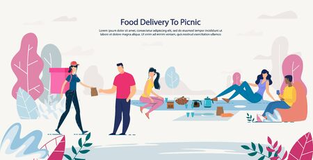 Fresh Healthy Food Delivery to Picnic Service. Advertising Poster with Happy People Rest on Nature Order Meal Basket for Lunch. Woman Courier Carrying Package with Ready Takeaway Dishes