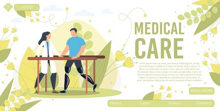Medical Care, Physical Rehabilitation Service in Clinic Trendy Flat Vector Web Banner, Landing Page Template. Doctor Helping Male Patient, Disabled Man Learn How to Walk on Leg Prosthesis Illustration 向量圖像