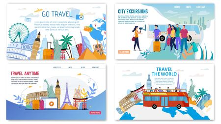 Webpage Set Offering City Excursion, World Trip, Exciting Journey to Europe, Oriental or Exotic Countries. Travelling by Bus, Airplane. Video Review about Destination Place. Vector Illustration