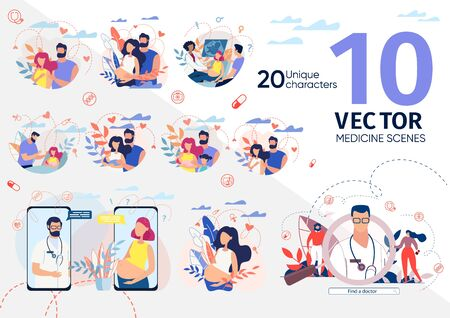 Healthy Pregnancy, Childbirth Preparation, Happy Maternity, Gynecologist Counseling Scene Trendy Flat Vector Illustrations Set. Pregnant Woman with Husband, Parents with Baby, Doctor Characters Icons Reklamní fotografie - 139818487