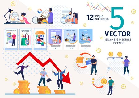 Financial Analyst, Business Leader, Stock Exchange Player Life Scenes, Work Situations, Company Strategy, Business Plan, Money Audit, Currencies Exchange Concept Trendy Flat Vector Illustrations Set