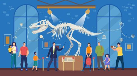 Tourists with Children at Natural Science Archeological Museum. Men, Women, Kids Listening to Guide and Looking at Prehistoric Times Dinosaur Remains, Skeleton, Bones Exposition. Vector Illustration