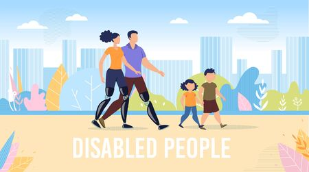 Disabled People Happy, Full Life Trendy Flat Vector Banner, Poster Template. Father and Mother with Disabilities, Disabled Parents with Prosthesis Walking Together with Children Outdoor Illustration