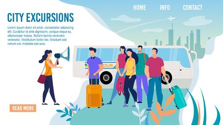 City Bus Excursions, Travel Agency Excursionist Service Trendy Flat Vector Web Banner, Landing Page Template. Female Tour Guide Conducting Excursion with Loudspeaker to Tourists Group Illustration