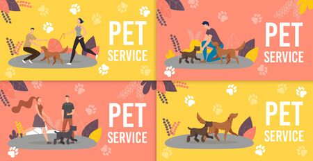 Dog Sitters, Professional Dog Training Service Trendy Flat Vector Ad Banners, Promo Posters Set. Female, Male Pet Trainers, Dog Handlers or Walkers Playing with Purebred Puppies in Park Illustration 向量圖像