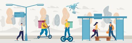 Different Food, Goods and Parcels Delivery Ways. City Urban Street with Deliverymen and Couriers Delivering Purchases, Order on Scooter and Hoverboard to Customers. Fast Drone Air Groceries Shipping 向量圖像