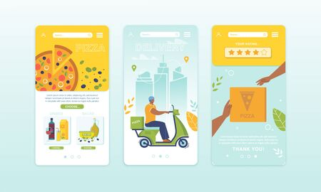 Application for Choose and Order Food for Snack. Mobile Onboard Pages Set. Phone Screen with Menu and Assortment, Courier Delivering Pizza by Moped, Delivery Service Rating. Vector Illustration