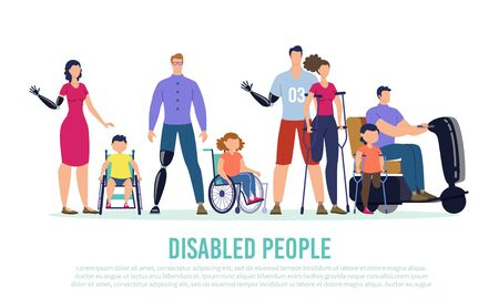 Disabled People Trendy Flat Vector Banner, Poster Template. Disabled Men and Women Characters with Hand, Leg Prosthesis, Injured Lady on Crutches, Children on Wheelchair Standing Together Illustration