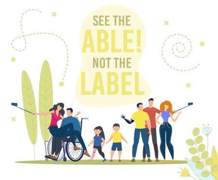 Disabled People Active and Full Life Trendy Flat Vector Concept. Paraplegic Man in Wheelchair, Disabled Teenager, Children with Limb Prosthesis Standing Together, Shooting Mobile Selfie Illustration
