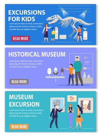 Art Gallery, Middle Ages Historical and Archeological Science Museum Excursions for Kids and Adults Advertising Header Banner. Visitors Viewing Ancient Artifacts Collection. Vector Illustration