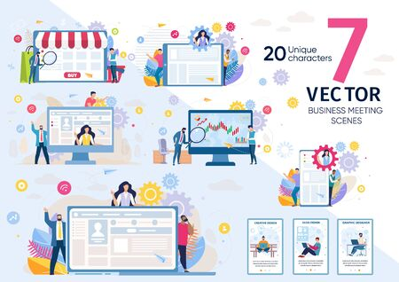 Company Customers, Business Leader, Startup Team Work Scenes and Situations, Marketing Strategy, Online Clients Experience Research, Internet Business Concepts Trendy Flat Vector Illustrations Set 向量圖像